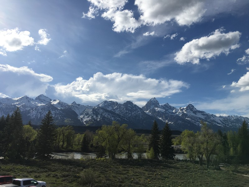 Tetons from Dornans in Moose, WY