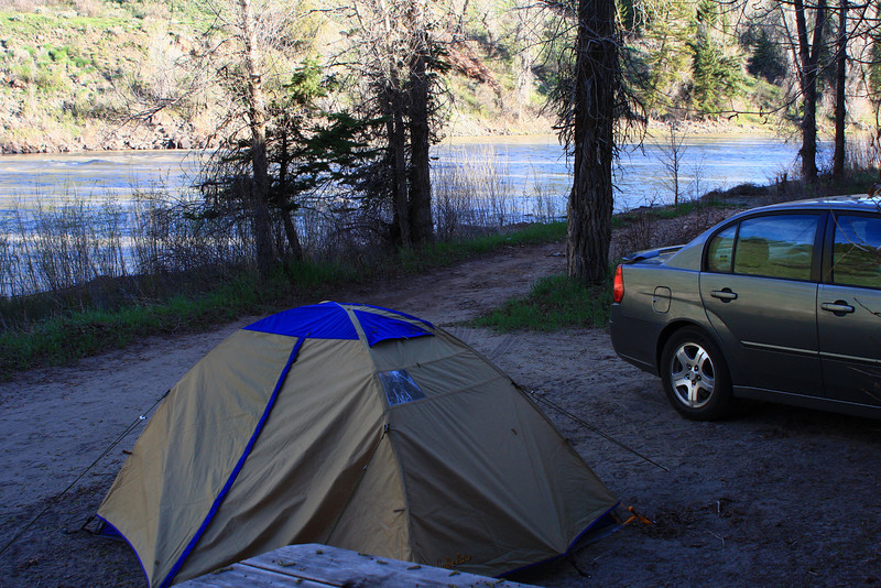 Camped out right on the Snake River just south of Jackson Hole.  I actually arrived after dark, so I didn't really have a sense of my surroundings until morning.