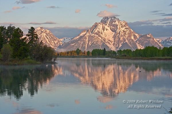 Sunrise, Mount Moran, Snake River, Oxbow Bend, Grand Teton National Park, Wyoming, USA, North America