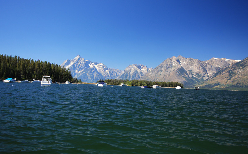 Marina on Jackson Lake, with the Teton mountain range in the background with elevations exceeding 10,000 feet.