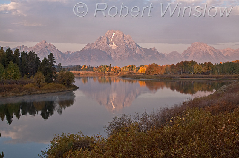 Autumn, Early Morning, Oxbow Bend, Snake River, Mount Moran, Grand Teton National Park, Wyoming, USA, North America