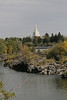 The falls and the Mormon temple in Idaho Falls