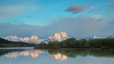 Grand Tetons morning light touching peak