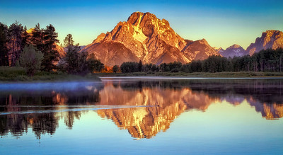 Mt Moran reflected in Snake River at Ox Bow Bend