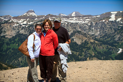 Karen, Lindsey and me on top of Jackson Hole with the Tetons in the background