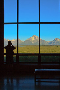 View from the Great Room at Jackson Lake Lodege where we were staying.  It was nice having drinks on the veranda at night watching the Elk cross the fields.