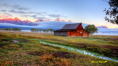 dawn at the Moulton Barn, morning glow on the Grand Tetons