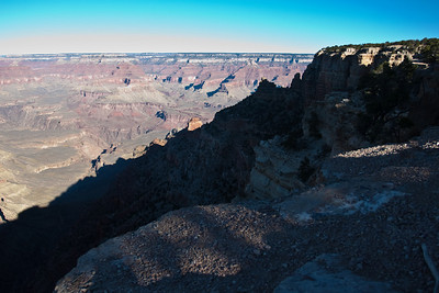 Grand Canyon south rim scenic just before starting to run down.