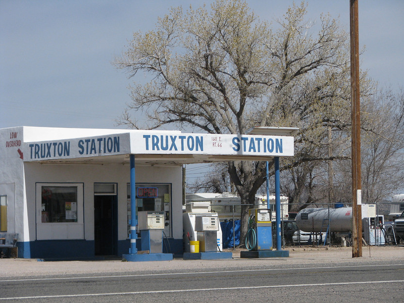 A small gas station is on the Mother Road, plenty of room on the outer pump for any size RV.
