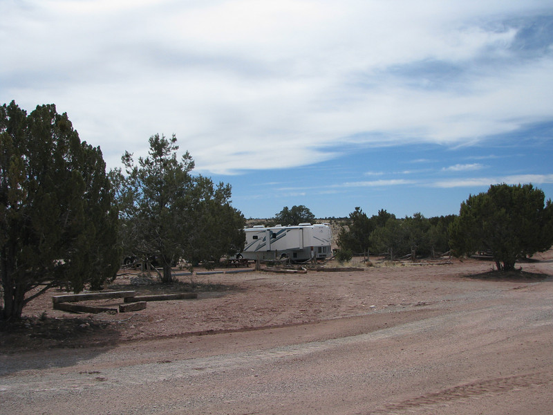 Grandcanyon cavern campground is on the rustic side which we like and can cater to any size RV. We are walking through the campground to the cavern.