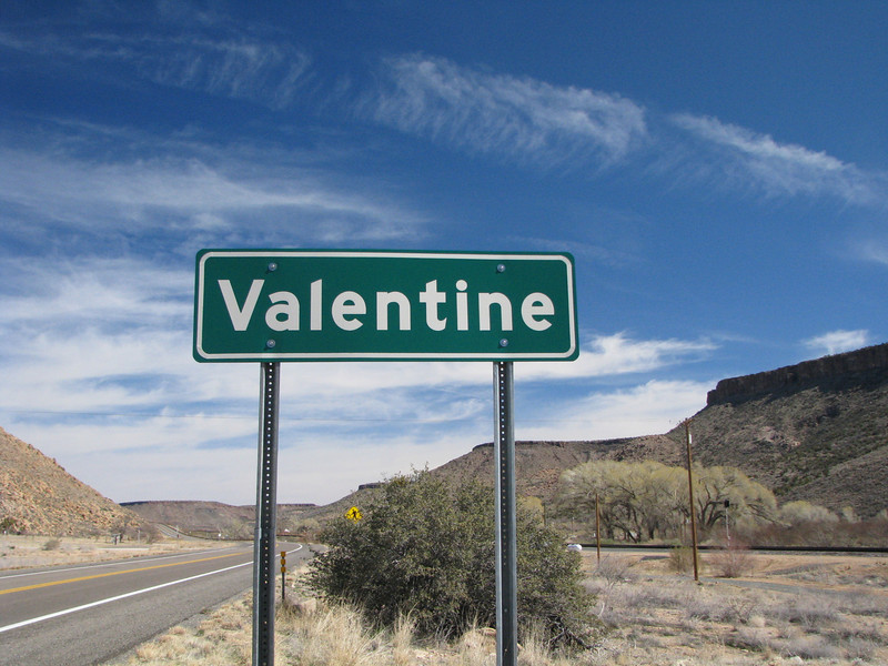 A few short miles and here's a sign announcing the town of Valentine, my mother had told me about a zoo located here for retired animals.