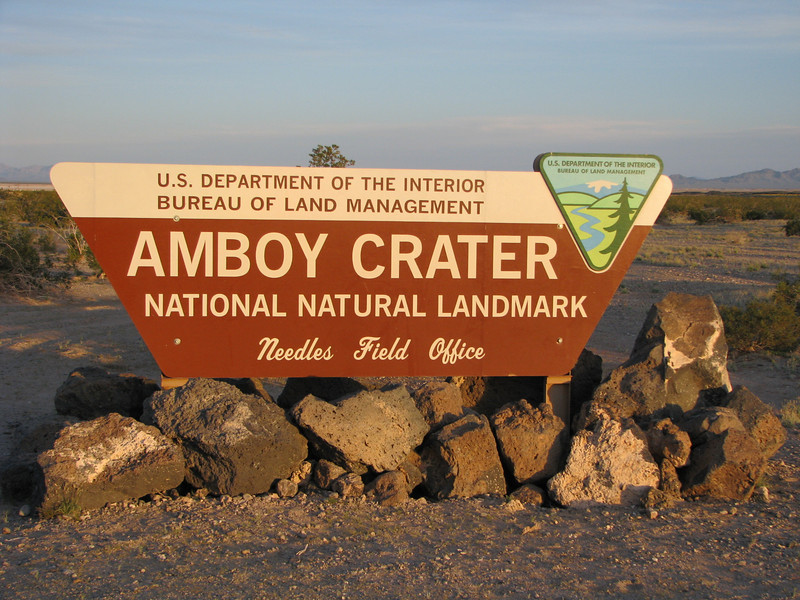 Arriving at Amboy Crater, its welcoming signage is easily seen from National Trail Hwy aka Route 66.