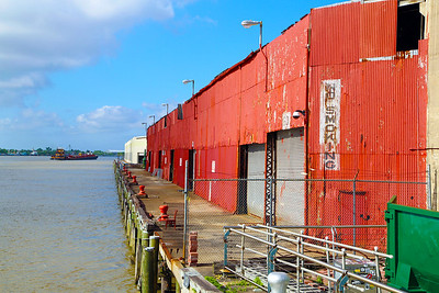 We're docked next to a warehouse for Mardi Gras floats.