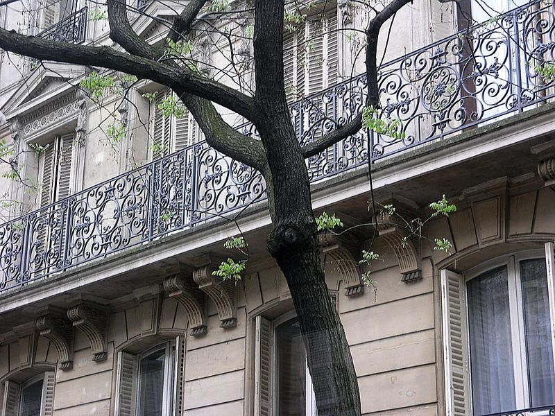 Paris wrought iron balconies - everywhere, often intricate  and very beautiful. As seen through a bus window.