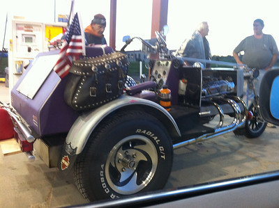 These gypsy bikers chatted us up at the highway rest stop. Awesome Trike.