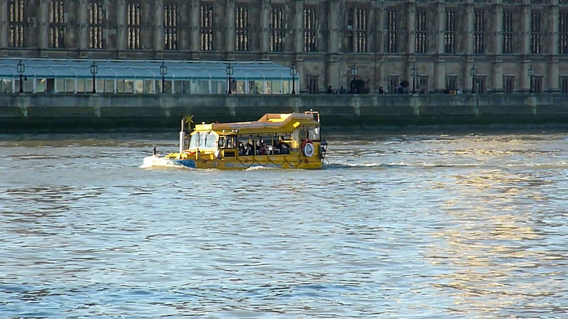 London Duck Tours'amphibious vehicle in the Thames in London