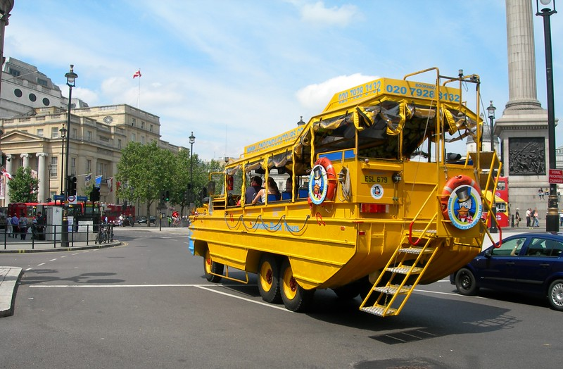 An amphibious vehicle in Trafalgar Square, London
