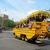 An amphibious vehicle in Trafalgar Square, London