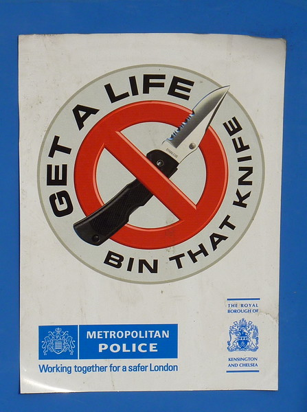 """""""Get a Life - Bin that Knife""""; an invite to drop knives in a bin to let the police collect them."""