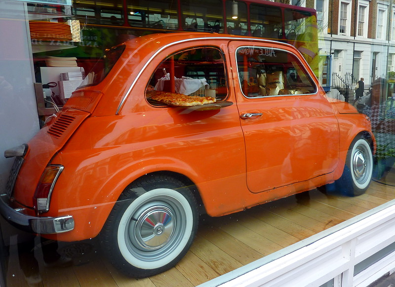 A Cinquecento in Arancina'shop window in Pembridge road, Notting Hill