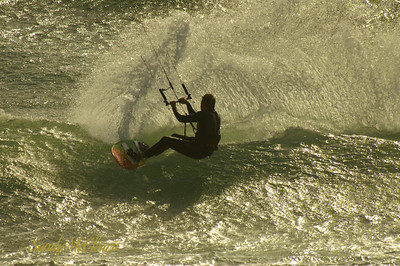 A kite surfer on Mounts Bay in Cornwall, England.