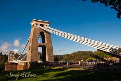 Clifton Bridge spans the Avon Gorge in Bristol, England.