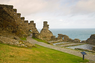 The ruined walls of Tintagel Castle in Cornwall.