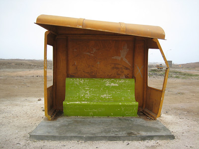 Taken in Salalah.  A'modern' bus stop that didn't make the grade.  It was probably attacked by a crowd of irate camels.