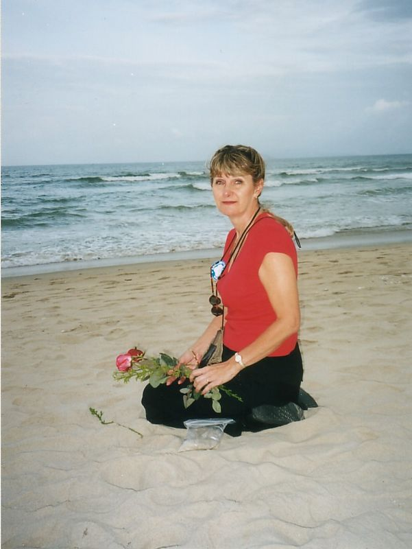 2001 - China Beach, Vietnam.  Near where Pam bother Lugene was killed in 1965.  We honored his memory with a small rose memorial.