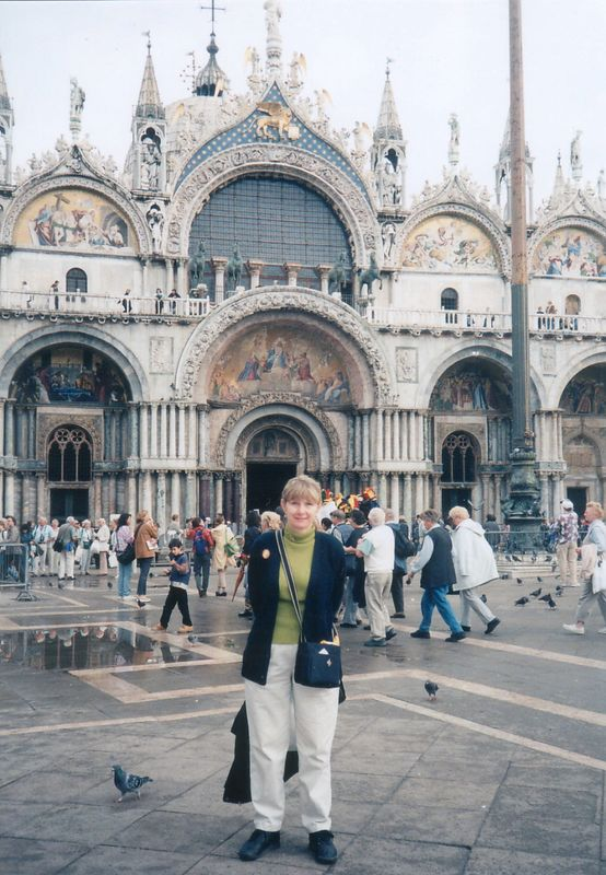 2000 - Venice, Italy.  Pam in front of St. Marks Cathedral.