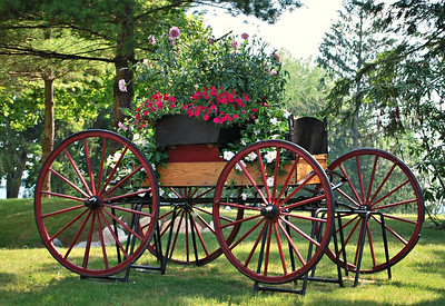 Flower Cart Next to the Carriage House of the Cranwell Resort, Spa, and Golf Club