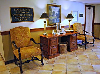Coffee Bar and Seating in the Olmsted Building at the Cranwell Resort, Spa, and Golf Club
