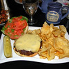 White Mountain Beef Burger with Cheese and Kettle Chips