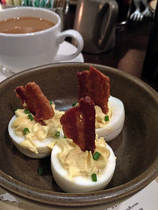 Deviled eggs with bacon at The Copper Grouse at the Taconic Hotel in Manchester, VT