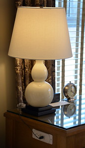 Nightstand and lamp at the Taconic Hotel in Manchester, VT