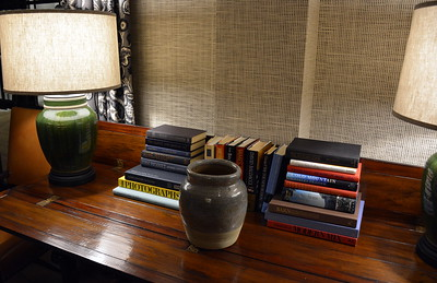 Books available for guests to read at the Taconic Hotel in Manchester, VT