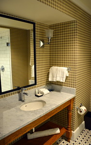 Junior suite bathroom at the Taconic Hotel in Manchester, VT
