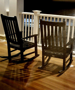 Rocking chairs on the wraparound porch at the Taconic Hotel in Manchester, VT