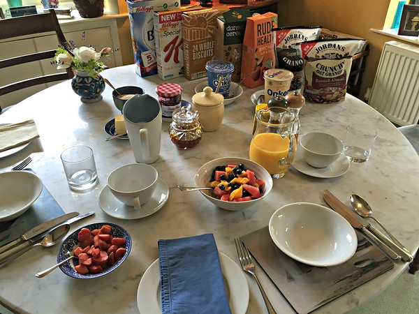 The table set for breakfast at Washingford House