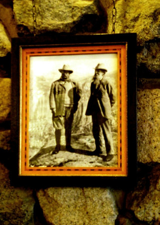 Portrait of President Teddy Roosevelt and conservationist John Muir on the wall in the Ahwahnee Bar.