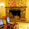 Jeannette Dyer Spencer mural is above the Elevator Lobby fireplace.