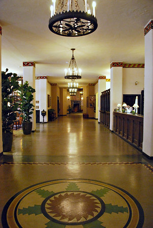 Heading from the lobby towards the elevators and dining room.