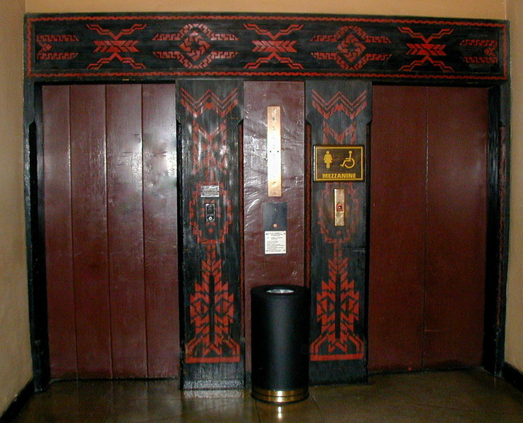 The elevator doors at the Ahwahnee Hotel