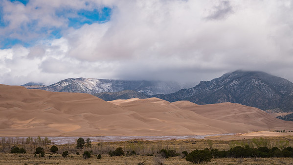 Great Contrasts ~ Sand, Sky, Clouds, and Mountains