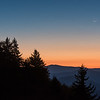 Crescent Moon sets over the Smokies at Dawn