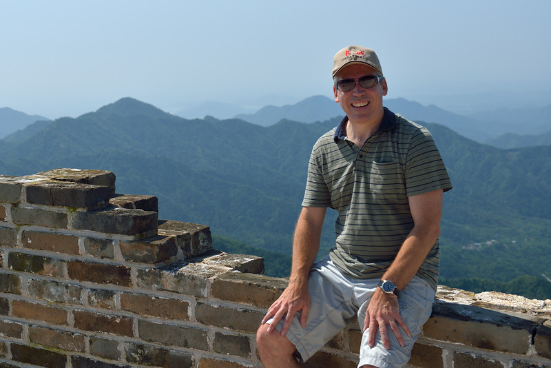 Me at the top of the Great Wall on the Mutianyu section approximately 90 km North of Beijing China
