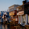Little Venice, on the Mykonos waterfront, at sunset.