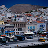 Twin peaks of Ermoupoli, Syros, largest city in the Cyclades.