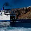 Ferry boat from Piraeus arrives at Santorini.