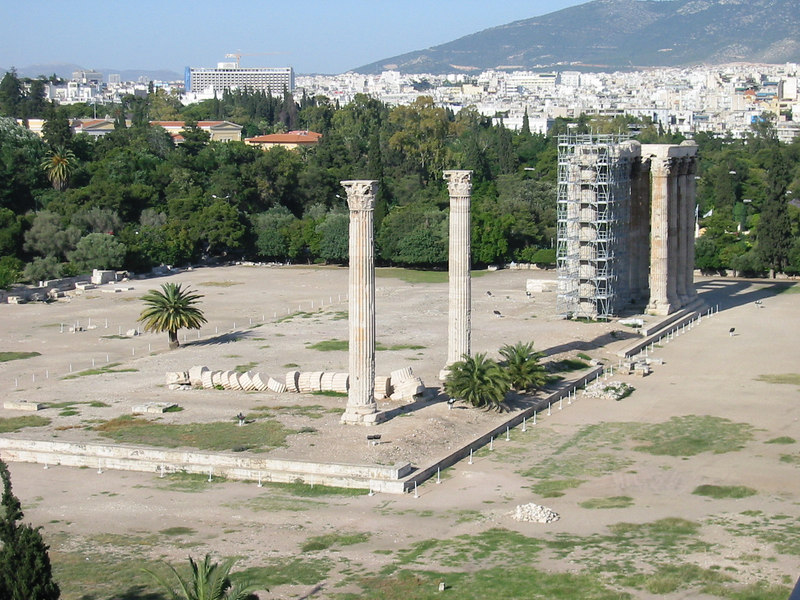 Temple of Olympian Zeus from hotel 07 -- IMG_0795
